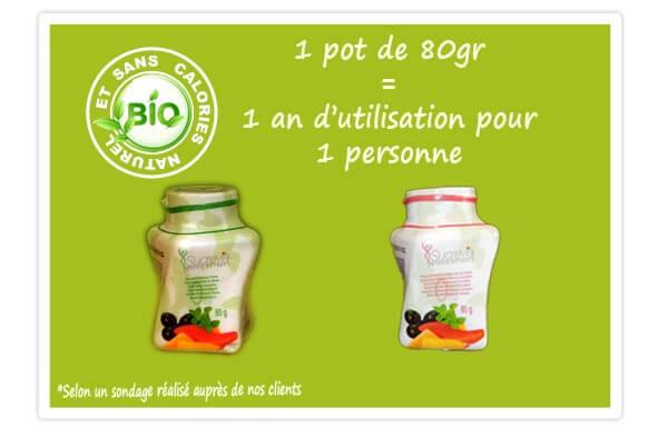 1 pot de 80gr de stévia sucrevia=1 an pour 1 personne