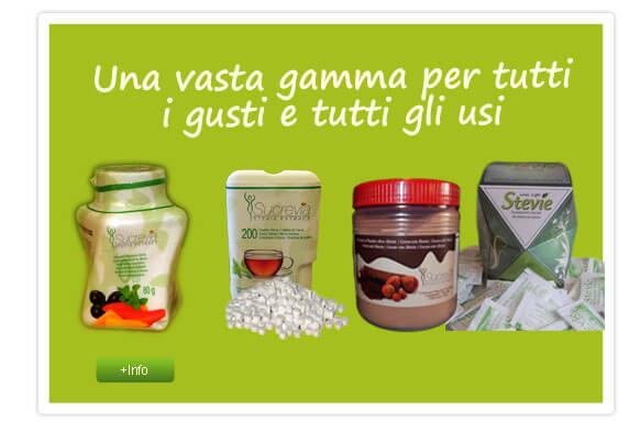 un'ampia varietà di prodotti Stevia